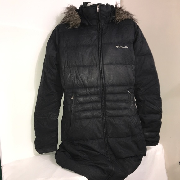 Columbia Black Puffer Winter Fur Lined Maxi Jacket